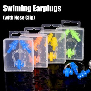 Waterproof Soft Swimming Earplugs Nose Clip Case Protective Prevent Water Protection Ear Plug Soft Silicone Swim Dive Supplies FT108