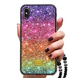 Di lusso bling bling del telefono strass di scintillio di iphone 11 pro 6 7 8 più copertura della cassa posteriore di colore X XR XS MAX Diamante arcobaleno gradiente