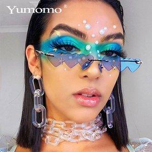 Lentes Heart Shaped Sunglasses mulheres de metal Mulheres Marca Moda aro AMOR Limpar Oceano Sun Glasses Oculos UV400