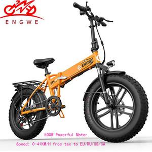 Bicicleta eléctrica 20 * 4.0 pulgadas Aluminio Bicicleta eléctrica plegable 48V10A 500W 40KM / H 6 Velocidad Potente Fat Tire bicicleta Montaña nieve ebike