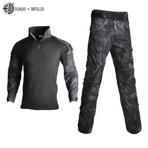 Tactical Anzug Militäruniform Trainingsanzug Camouflage Jagd Sets Shirts Hosen Paintball Kleidung Sets mit Gratis-Pads 10 Taschen