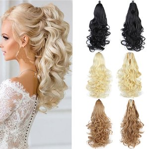 Extensions & Wigs Lupu Long Ponytail Hair Extension Claws 24 Inch For Women Wig Hair Wavy Clip Little Blonde Girl Heat