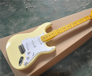 6-String Electric Guitar with Cream Yellow Color Body,Vintage Maple Fingerboard,Reverse Headstock and can be Customized
