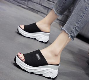 Net red cake slippers summer wear 2020 new all-in-one platform half - towed small white shoes women inside tall cool slippers