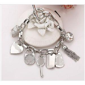 DHL Love Alloy Key Кристалл Браслеты с Love Heart Gem Серебряные Позолоченные Подвески Роскошные Ювелирные Изделия Браслеты Шарма Браслет Ювелирные Изделия Мужчины Женщины
