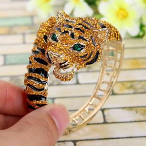 Tuliper тигр животных браслет браслет коричневая эмаль австрийский хрусталь браслет для женщин ну вечеринку ювелирные изделия валентина лучший подарок 2019 J190703