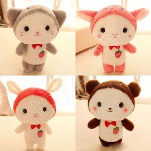 25 cm Bonito morango gatinho recheado coelho cabra boneca de pelúcia Macia Stuffed Animal Toys Brinquedos De Pelúcia figuras de ação dos desenhos animados de Pelúcia boneca crianças brinquedos