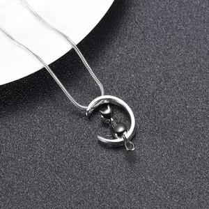 hh10504 Je t'aime à la forme Lune Cat Bijoux Crémation Pet Ashes Urnes Collier Memorial pendentif pour les femmes / hommes de gros