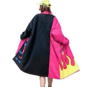 Vefadisa письмо Печати Denim Trench Женщины 2020 отворот весна Denim пальто Сыпучего Hit Color Coat Long Cowboy Шинель QYF1938