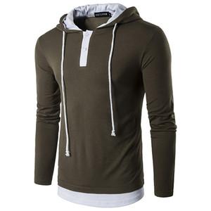 Getäfelten Mens Designer Hoodies Casual gefälschte zweiteilige Drawstring Mens Hoodies Fashion Pullover Button Männliche Kleidung