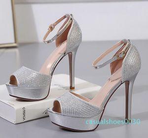 12cm Elegant bridesmaid silver gold heels rhinestone wedding shoes fashion luxury designer women shoes size 34 to 39 30c