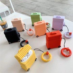 Красочные мягкие силиконовые коробки кожи противоударный Airpod чехол Iphone Bluetooth наушники защитный чехол мультфильм с талрепом для Apple Airpods 1 2