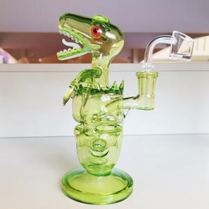 Mağazadakiler Dino Cam Bong ile 14.4mm Erkek Ortak Elma Yeşil Renkli el yapımı Craft Bongs Cam Bubbler Sıcak Satış