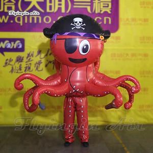 Drôle Walking gonflable Pirate Costume Octopus 2m Adulte Wearable Soufflage Costumes Mascotte Up animaux Sea Octopus Parade et la publicité: