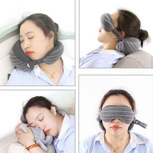 Boyun Yastık Göz Maskesi Seyahat Açık Taşınabilir Boyun Yastık Yastık Uçak Uyku Istirahat Göz Maskesi Gölgelendirme Gözlük Körü Körgü Gölge BH2225 CY