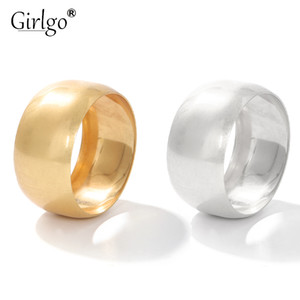 Girlgo New Arrival Gold Silver Color Big Bangle $ Bracelet Women Men Punk Daily Metal Ring Round Wide Bangle Jewelry Statements