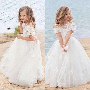 Güzel Dantel 3D Çiçek Çiçek Kız Elbiseler 2020 Cap Sleeve Plaj Bohemian Aplike Toddler Pageant Abiye Tül Çocuklar Communion Elbise