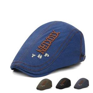 2pcs lot Men Beret Embroidery Vintage Ivy Beret Cap New Spring Casual Washed Cotton Duckbill Visor Sun Hat Newsboy Golf