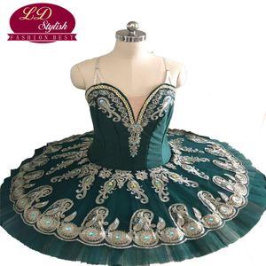Ballet Raymonda Profesional Tutús verde oscuro princesa Florina clásicos trajes de crepe Tutú profesional adulto Ballet Tutu