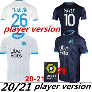 Player version Olympique de Marseille Maillot de football 2020 2021 Maillot de Foot PAYET THAUVIN BENEDETTO de Polo 20 21 chemises Marseille