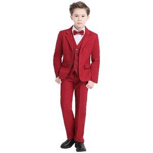 2019 패션 Red Boys 한 벌 웨딩 한 벌 Boys 어린이 어린이 의상 Set Blazers 대 한 Boys 피아노 마치 남자들 한복