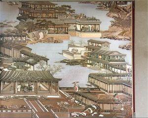 Qingming Shanghe 3D wallpaper landscape natural silk fiber gold restaurant classical Chinese decorative wallpaper