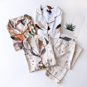 Summer Printed Women Pajamas Sets Long Sleeve Top And Pants 2 Piece Pajama Set Female Sleepwear Fashion Night Suit Set Lady