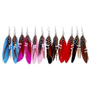 Bohemia Feather Tassel Earrings Vintage Resin Beads Ear Drop Fashion Girl Colorful Feather Dangle 10 Colors Women Jewelry