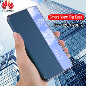 Großhandel p20 pro case original offizielle smart view fenster pu leder flip abdeckung huawei p20 case huawei p20 pro flip case abdeckung