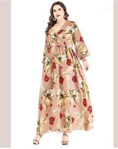 Derin V yaka Fener Kollu Uzun Elbise Kadın Büyük Boy Şık Elbise 5XL 6XL Artı boyutu Kadınlar Çiçek Elbise