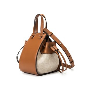 Women Handbag Composite Calf Leather Stitch Linen Hammock Mini Bag Caramel Shoulder Crossbody  Woman Handbags 2019