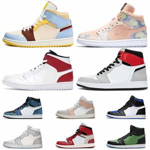 nike air jordan 1 mens venta caliente retro Maison Chateau Rouge X Medio Fearles Jumpman 1 Aire mujeres zapatos de baloncesto 1s Pherspective OG luz humo gris entrenadores
