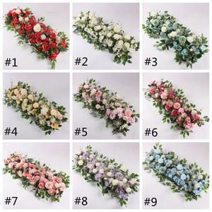 웨딩 축제 장식 HHA741에 대한 50cm 인공 꽃 행 로즈 모란 수국 식물 혼합 꽃 아치 DIY 실크 꽃 행