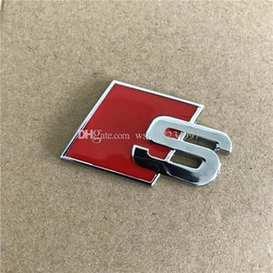 Logo Novo Metal S Sline emblema do emblema etiqueta do carro preto Red Front Rear Bota porta lateral Fit For Audi Quattro VW TT SQ5 S6 S7 A4 Acessó