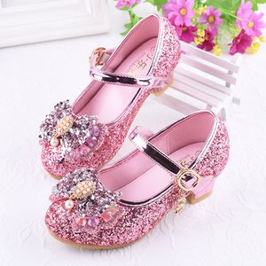New Children Shoes for Girls Princess High Heel Party Kids Dance Pearl Sandals Glitter Crystal Leather Shoes Wedding Dress