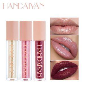 good quality Waterproof Long-lasting Handaiyan 10 color moisturizing high gloss lip gloss metallic glittering pearl lip gloss
