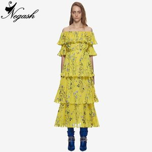2018 High Quality Runway 2019 Summer Long Self Portrait Dress Maxi Women Sexy Off the Shoulder Floral Printed Tiered Dresses