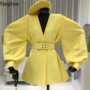 Neploe Blazer Kadınlar Bahar 2020 Katı V Yaka Uzun Puff Kol Ofis Lady Coats Gevşek Sashes İnce Bel Kadın 1A193 Tops