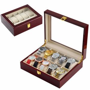 Часы Box Piano Paint 10 Слоты ювелирных изделий Случай хранения Деревянные Часы Box Часы Дисплей Box для женщин мужчин