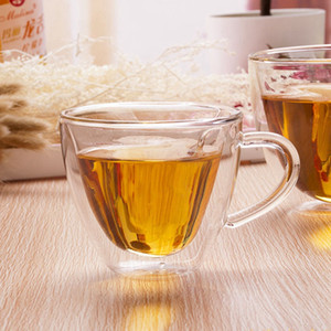 Doppelwandglasbecher Herz formte 180ml 240ml Kaffee-Milch-Tee-Schalen mit Griff Transparent Glas-Tassen Romantische Geschenke Trinkgefäße HHA1089