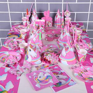 Decorações Da Festa de Aniversário do unicórnio Crianças Dos Desenhos Animados DescartáveisTableware Define 1o Aniversário Chapéu De Papel Chapéu Guardanapos Suprimentos Partido Unicorn Conjunto RRA58