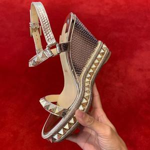 2019 HOT Mulheres Sandálias de Luxo Pyraclou Sandálias das Mulheres Cunha Moda Red Bottom Shoes Sexy Cunhas De Salto Alto Vestido de Festa de Casamento