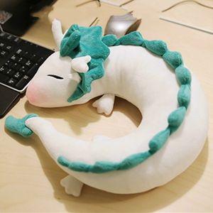 28cm Hot Ghibli Miyazaki Hayao Anime Plush Toy Spirited Away Haku Cute Doll Stuffed Plush Toy U-Shape Neck Pillow Christmas Gift