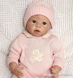 """htt Collec 22"""" Reborn Baby Girls Toy Silicone Vinyl Newborn Lifelike Baby With Clothes Brown Eyes Mohair Very Cuted"""