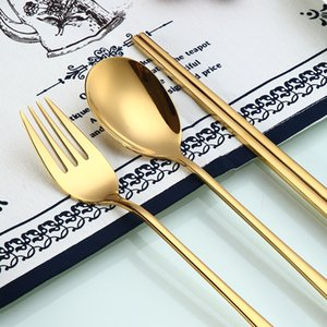 Spklifey Rainbow Cutlery Chopsticks Dinnerware Set Cutlery Stainless Steel Gold Cutlery Set Tableware Wedding Silverware Set