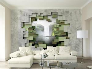 사용자 정의 크기 3d 사진 벽지 livingroom 벽화 입체 폴리곤 콘크리트 벽 폭포 사진 소파 배경 부직포 벽 벽지