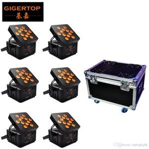 6IN1 شحن علبة Flightcase حزمة 12 x 15W 5 بطارية اللون اللاسلكي Led Par Light Professional Stage Lights cube uplight Tiptop سريع شحن