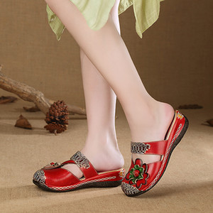 2019 VALLU Verano Mujer Zapatos Zapatillas Cubierta Dedos Flor Hecha A Mano Plataforma Plana Señoras de Cuero Genuino Fuera Zapatillas