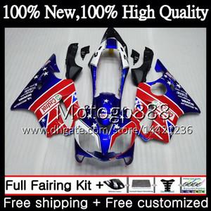 Cuerpo para HONDA Azul rojo CBR600F4 CBR600 F4 99 00 FS 44PG17 CBR 600F4 99 CBR600 FS Azul CBR600FS CBR 600 F4 1999 2000 Carenado Kit de carrocería