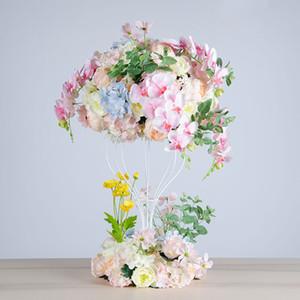 Hortênsia bola artificial flor simulação rosa grinalda partido estrada chumbo decoração peônia flor de seda casamento decorativo suporte de ferro quadro